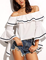 Women's Going out Casual/Daily Club Sexy Simple Street chic Spring Fall Ruffle Backless All Match T-shirtColor Block Boat Neck  Sleeve Medium
