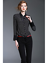 XSSLWomen's Going out Work Simple Cute Street chic Spring Fall ShirtPrint Shirt Collar Long Sleeve Polyester Medium