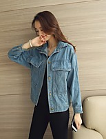 Women's Casual/Daily Simple Fall Denim Jacket,Solid Shirt Collar Regular Cotton