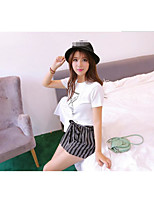 Women's Going out Sexy T-shirt Skirt Suits,Animal Print Round Neck Short Sleeve Micro-elastic