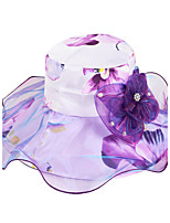 Women Ribbon Bow Flower Print Pearl Decoration Sun Summer Chiffon Folding Anti-ultraviolet Travel Beach Hat