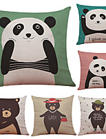 Set of 6 Cute Panda Pattern Linen Pillowcase Sofa Home Decor Cushion Cover  Throw Pillow Case (18*18inch)