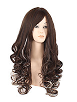 Long Deep Wave Side Black Red Lolita Women Synthetic Wig Fiber Cheap Cosplay Party Hair