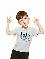 Casual/Daily Sports School Print Tee,Cotton Summer Short Sleeve Regular