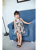 Girl's Print Dress,Cotton Summer Sleeveless