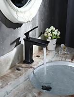 Traditionnel Set de centre large spary with  Soupape céramique Mitigeur un trou for  Bronze huilé , Robinet lavabo