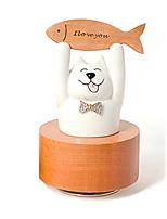 музыкальная шкатулка Цилиндрическая Кошка Товары для отпуска Дерево Керамика Универсальные