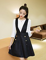Women's Casual/Daily Simple Summer T-shirt Skirt Suits,Solid Round Neck ¾ Sleeve Cotton
