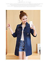 Women's Casual/Daily Simple Spring Denim Jacket,Solid Shawl Lapel Long Sleeve Long Cotton