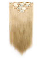 7pcs/Set 130g Medium Golden Brown Straight 50cm Hair Extension Clip In Synthetic Hair Extensions