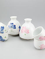 High Temperature Porcelain Japanese Hand Painted Flower Wine Set with Four Cups