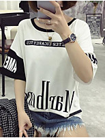 Women's Casual/Daily Simple Street chic Spring Summer T-shirt,Print Round Neck Short Sleeve Polyester Medium