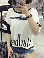 Tee-shirt Femme,Imprimé Décontracté / Quotidien simple Chic de Rue Printemps Eté Manches Courtes Col Arrondi Polyester Moyen