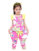 Girls' Going out Casual/Daily School Floral Sets,Acrylic Nylon Summer Short Sleeve Clothing Set