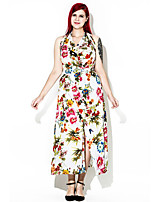 Для женщин Большие размеры Богемный Свободный силуэт Платье С принтом,Хальтер Макси Без рукавов Хлопок Полиэстер Лето ОсеньС высокой