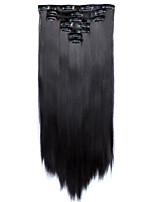 7pcs/Set 130g Dark Wine 50cm Hair Extension Clip In Synthetic Hair Extensions