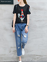 Women's Going out Casual/Daily Simple T-shirt Pant Suits,Animal Print Round Neck Denim strenchy