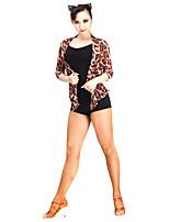 Latin Dance Tops Women's Performance Chinlon Tulle 1 Piece 3/4 Length Sleeve Top