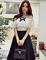 DABUWAWA Women's Going out Casual/Daily Holiday Sexy Street chic Sophisticated Summer ShirtSolid Patchwork Off Shoulder Sleeveless