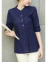 Women's Casual/Daily Simple Shirt,Solid Round Neck ¾ Sleeve Cotton Linen