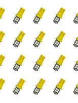 20шт t10 5 * 5050 smd светодиодная лампа для автомобиля желтый свет dc12v