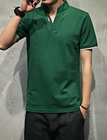 Masculino Camiseta Casual SimplesSólido Algodão Assimétrico Manga Curta