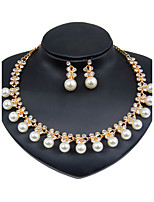 Jewelry Set Euramerican Fashion Classic Imitation Pearl Zinc Alloy Round 1 Necklace 1 Pair of Earrings ForWedding Party Anniversary