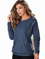 Women's Sports Active Sweatshirt Solid Round Neck Micro-elastic Cotton Long Sleeve Spring
