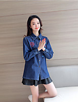 Women's Casual/Daily Cute Shirt,Solid Square Neck Long Sleeve Rayon