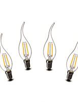 2W E14 LED Kerzen-Glühbirnen CA35 2 COB 200 lm Warmes Weiß Dekorativ AC 220-240 V 4 Stück