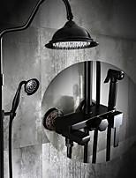 Starožitné Baterie na střed Dešťová sprcha with  Keramický ventil Single Handle tři otvory for  Olejem třený bronz , Sprchová baterie