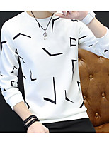 Men's Casual/Daily Sweatshirt Solid Round Neck strenchy Cotton Long Sleeve Spring