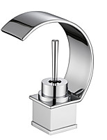 Contemporary Art Deco/Retro Deck Mounted Waterfall with  Ceramic Valve Single Handle One Hole for  Chrome  Bathroom Basin Sink Faucet