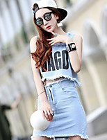 Women's Going out Casual/Daily Simple Street chic Tank Top Skirt Suits,Solid Print Round Neck