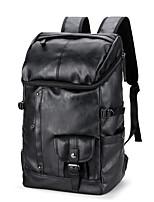 Men Sports & Leisure Bag PU All Seasons Sports Casual Outdoor Camping & Hiking Climbing Bucket Zipper Black