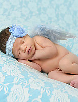 Newborn Baby's Feather Handmake Lace Flowers  Modelling of the Angel Blue Photographic Cloths Headwear