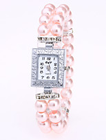 Women's Bracelet Watch Chinese Quartz Pearl Band Pearls White Red Pink Navy