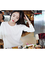 Women's Casual/Daily Simple Spring Summer T-shirt,Solid Round Neck Long Sleeve Cotton Thin