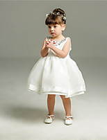 Ball Gown Short / Mini Flower Girl Dress - Organza Jewel with Bow(s) Crystal Detailing Pleats