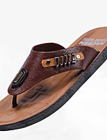 Men's Slippers & Flip-Flops Summer Light Soles Leatherette Outdoor Casual Low Heel Dark Brown Light Brown