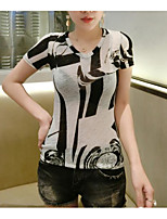 Women's Casual/Daily Simple T-shirt,Print V Neck Short Sleeve Cotton Thin