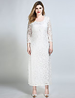 Women's Plus Size Going out Party Sexy Vintage Street chic Shift Sheath Lace Dress,Solid Round Neck Maxi ¾ Sleeve Cotton Polyester Spandex