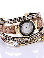 Women's Bracelet Watch Quartz / PU Band Sparkle Black Red Brown Khaki Brand