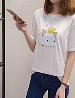 Women's Casual/Daily Simple T-shirt,Solid Print Round Neck Short Sleeve Cotton