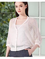 Women's Going out Casual/Daily Short Cardigan,Geometric Strapless Sleeveless Rayon Summer Fall Thin Inelastic