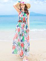 Damen Chiffon Swing Kleid-Ausgehen Blumen Rundhalsausschnitt Maxi Ärmellos Polyester Sommer Hohe Hüfthöhe Unelastisch Dünn