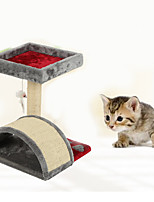 Cat Toy Interactive Climbing Rack Scratch Pad Durable Wood Plush Red
