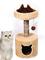 Cat Toy Interactive Climbing Rack Durable Wood Plush Beige