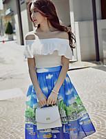 DABUWAWA Women's High Rise Knee-length SkirtsVintage Boho Street chic Swing Pleated Print