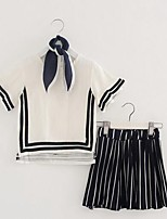 Girls' Stripe Sets,Cotton Polyester Summer Sleeveless Clothing Set